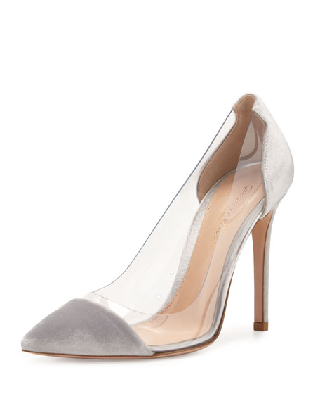 Gianvito Rossi Plexi Velvet Illusion 105mm Pump, Silver
