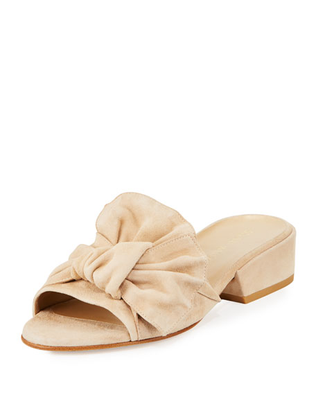 Stuart Weitzman Giftwrap Suede Bow Slide Sandal