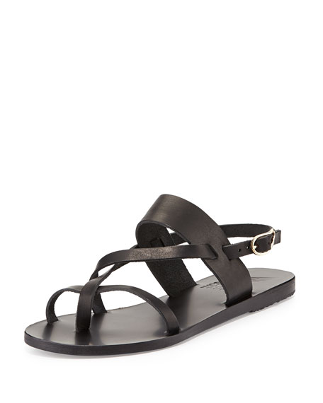 Ancient Greek Sandals Alethea Leather Flat Sandal, Black