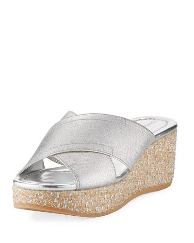 Savee Metallic Wedge Sandal