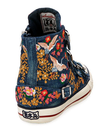 Vivi Multi-Buckle Embroidered Denim High-Top Sneakers