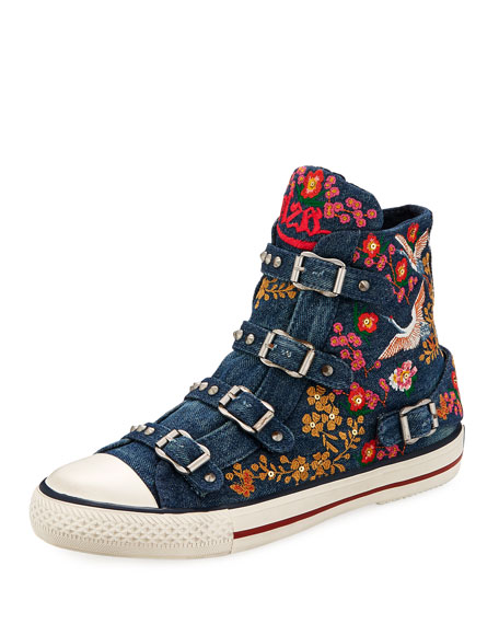 Ash Vivi Multi-Buckle Embroidered Denim High-Top Sneakers