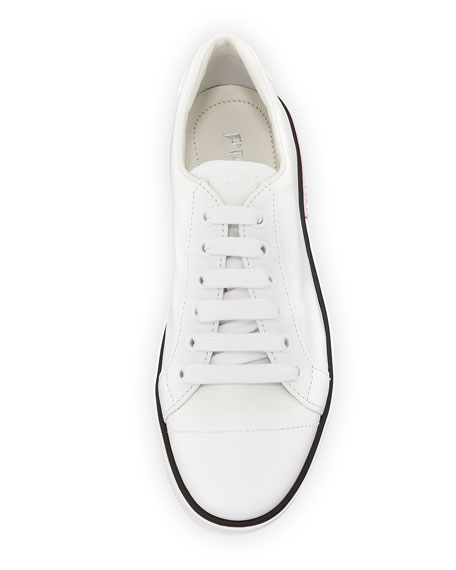 Leather Low-Top Sneakers with Two-Tone Heel