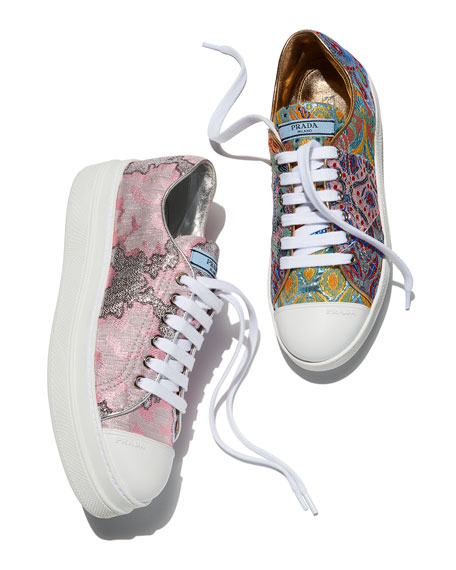 Metallic Jacquard Fabric Platform Sneakers