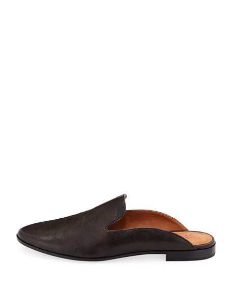 Terri Leather Slide Mule, Smoke