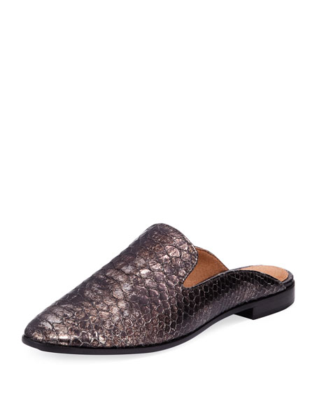 Terri Metallic Embossed Mule, Pewter