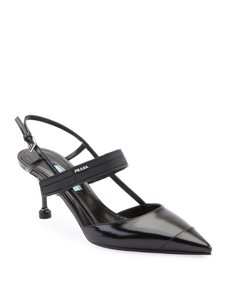 Prada Colorblock Leather Slingback Pump