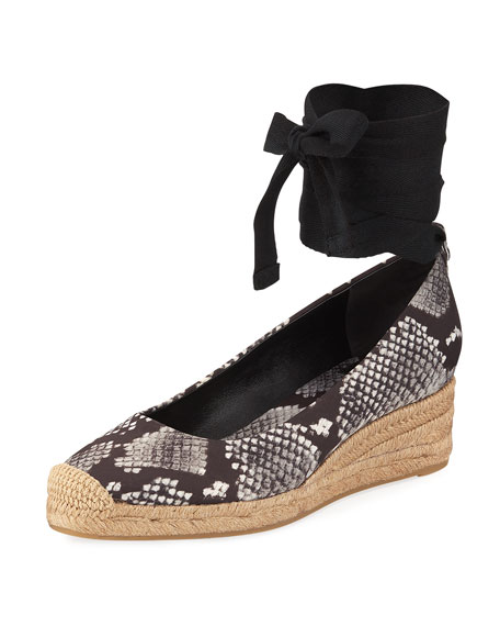 Heather Ankle-Wrap Wedge Espadrille