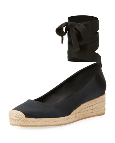 Heather Satin 40mm Wedge Espadrille