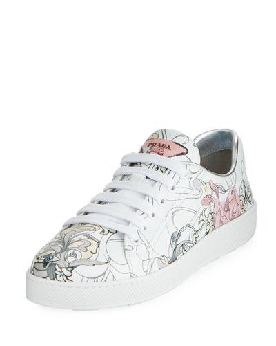 Rabbit-Print Leather Low-Top Sneaker