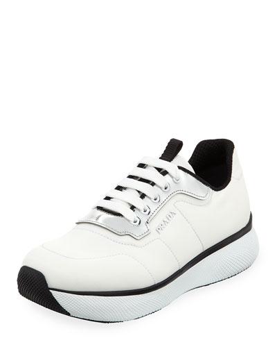 Two-Tone Nylon Platform Trainer Sneaker