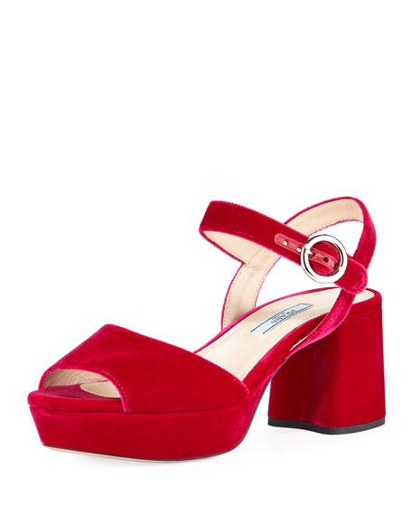 Velvet Platform 65mm Sandal