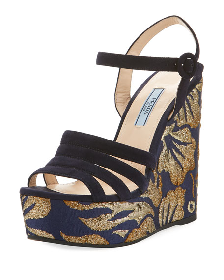 Prada Metallic Jacquard Platform Sandal