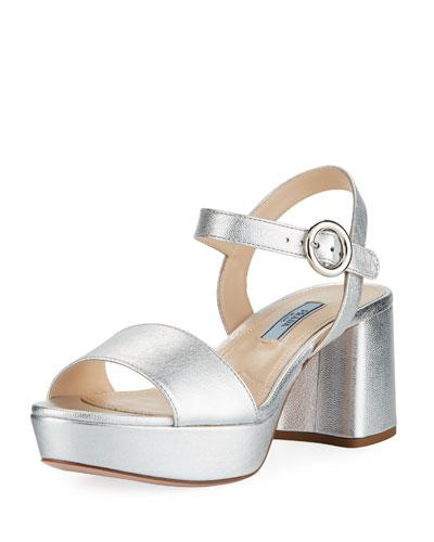 Metallic Leather Platform Low-Heel Sandal