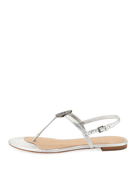 Liana Metallic Leather Flat Sandal