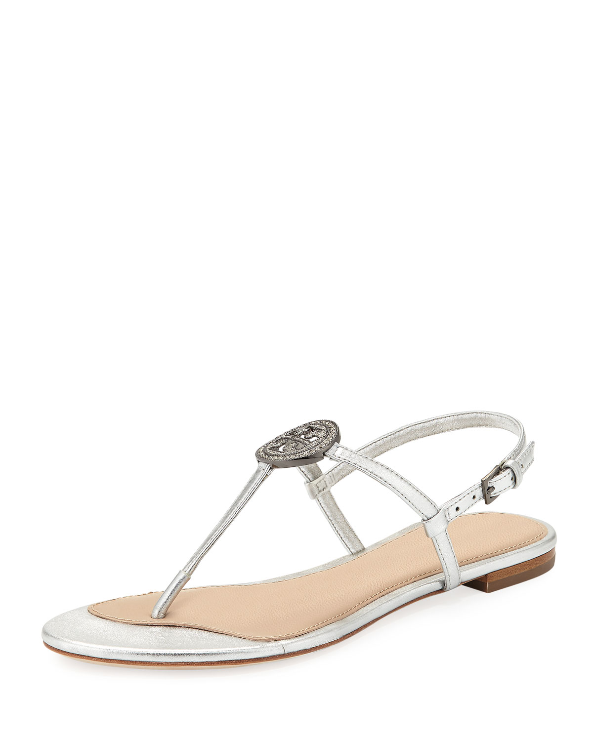 3334452cb344 Tory Burch Liana Metallic Leather Flat Sandal