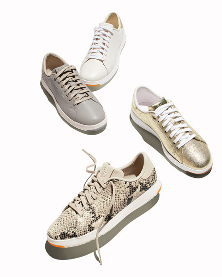 GrandPro Leather Tennis Sneakers, Silver Fox