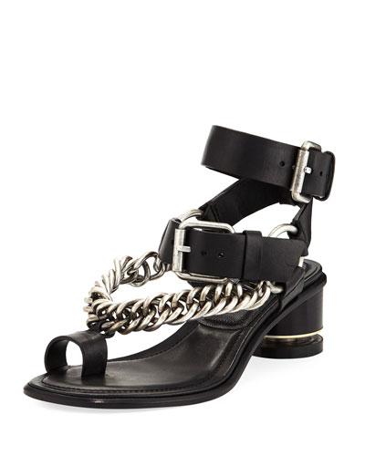 Jada Chain Chunky-Heel Sandal