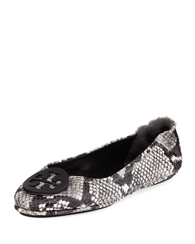 Minnie Snake-Print Travel Ballerina Flat