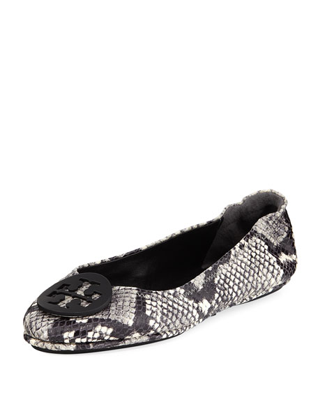 Tory Burch Minnie Snake-Print Travel Ballerina Flat