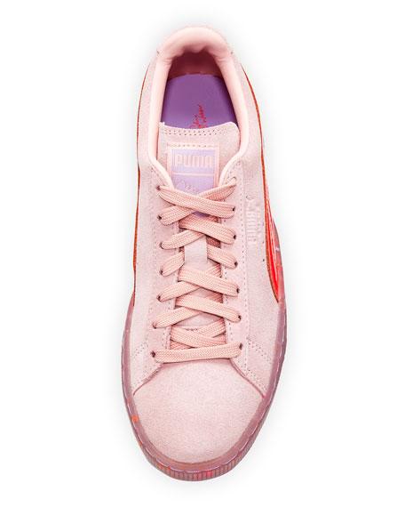 x Sophia Webster Basket Suede Low-Top Sneaker, Pink
