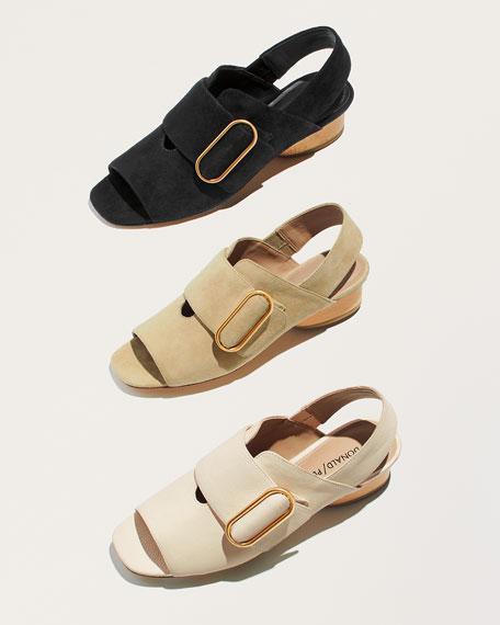 Randie Tumbled Leather Slingback Peep-Toe Sandal