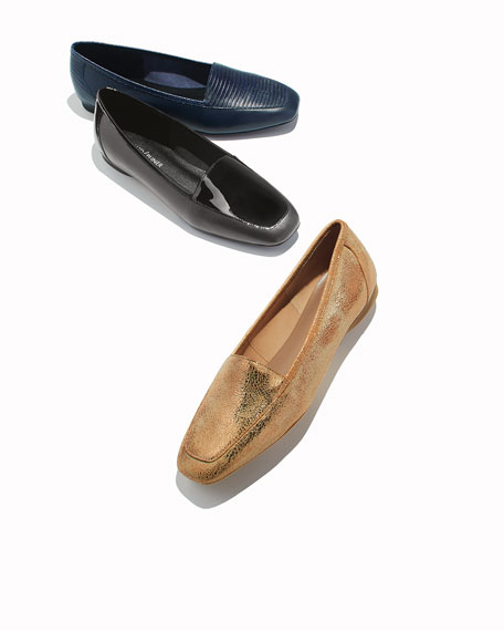 Deedee Slip-On Mixed Leather Flat, Black