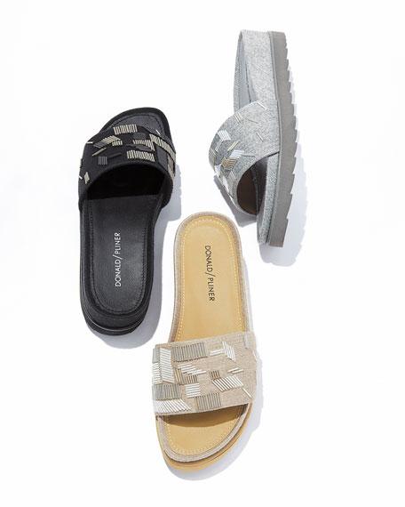Cava Felt Beaded Slide Sandal