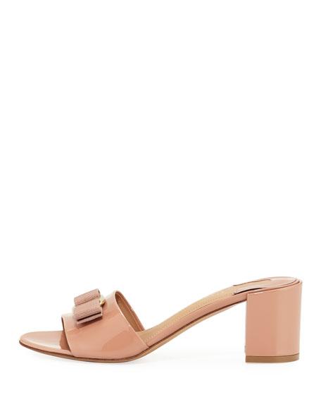 Eolie Vara Bow Patent Slide Sandals, New Blush