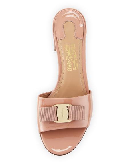 Vara Bow Patent Slide Sandal, New Blush