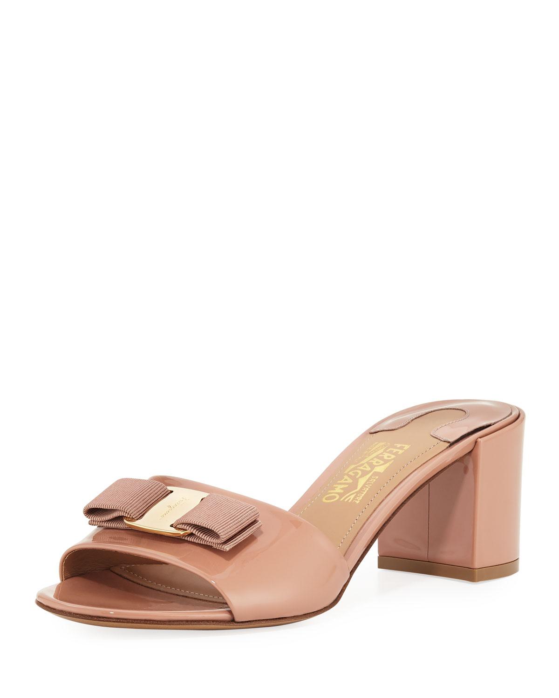 283a11d33ea Salvatore Ferragamo Eolie Vara Bow Patent Slide Sandals