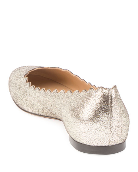 Lauren Scalloped Metallic Leather Ballet Flats