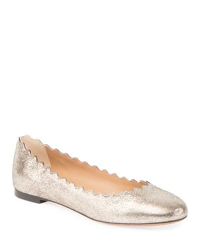 Lauren Scalloped Metallic Leather Ballet Flats