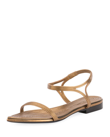 Saint Laurent Talitha Metallic Layered Flat Sandal