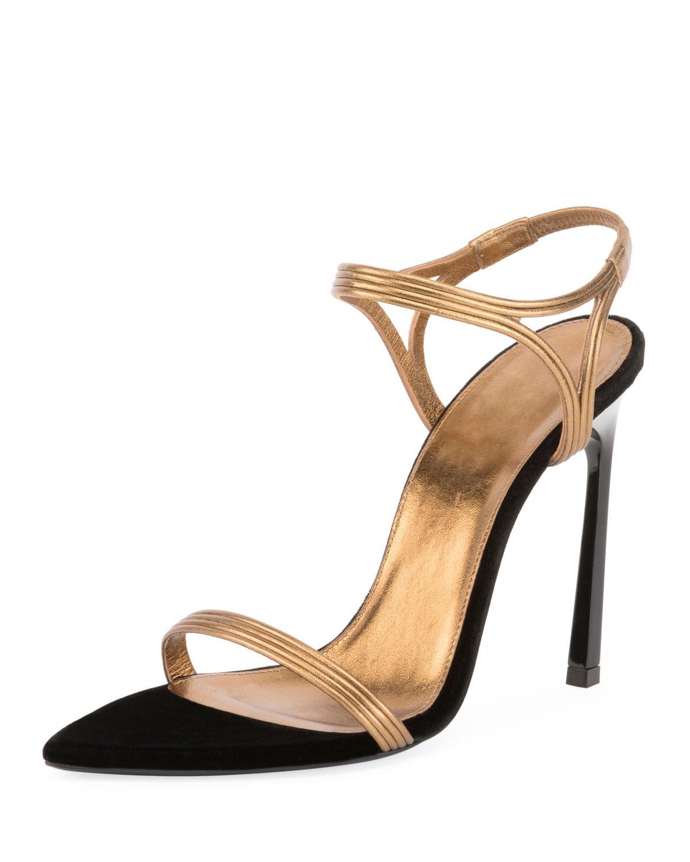 86cf07baaf9 Saint Laurent Talitha Metallic Strappy Sandal
