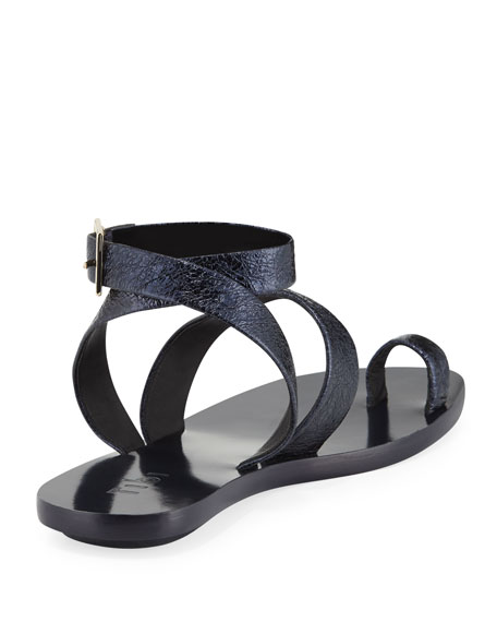 Noah Crinkled Leather Flat Sandal