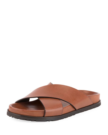 Saint Laurent Jimmy Joan Flat Leather Slide Sandal