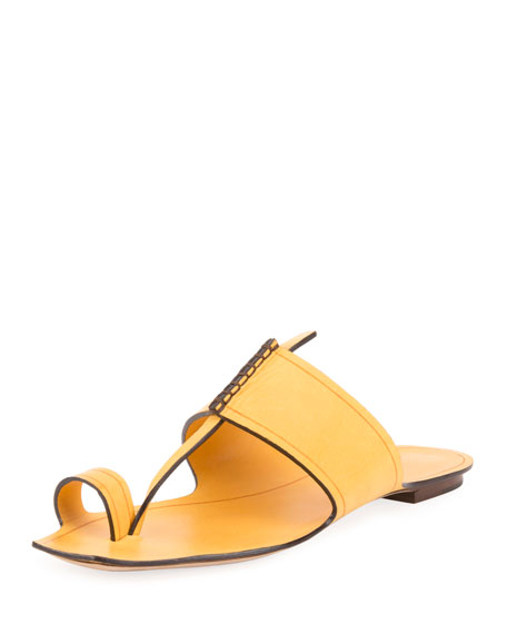 Saint Laurent Leather Toe-Ring Flat Slide Sandal