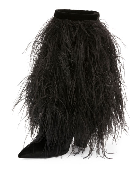 Yeti 110 Ankle Boots With Ostrich Feathers In Black Velvet, Noir