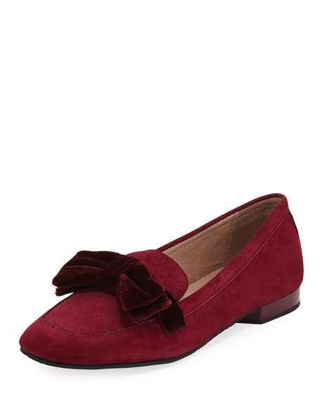 Donald J Pliner Harriet Suede Bow Flat Loafer