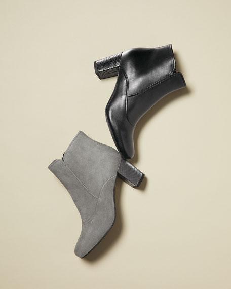 Paisley Fashion Leather Bootie, Black