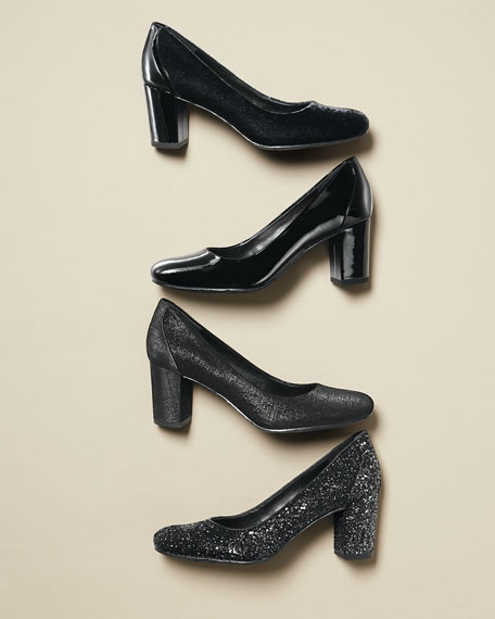 Palace Glitter Block-Heel Pump