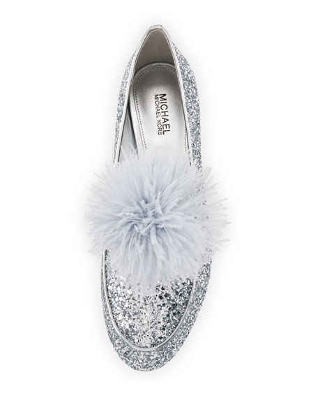 Fara Glitter Pouf Loafer, Silver