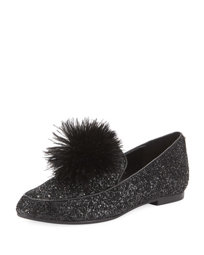 Fara Glitter Pouf Loafer, Black