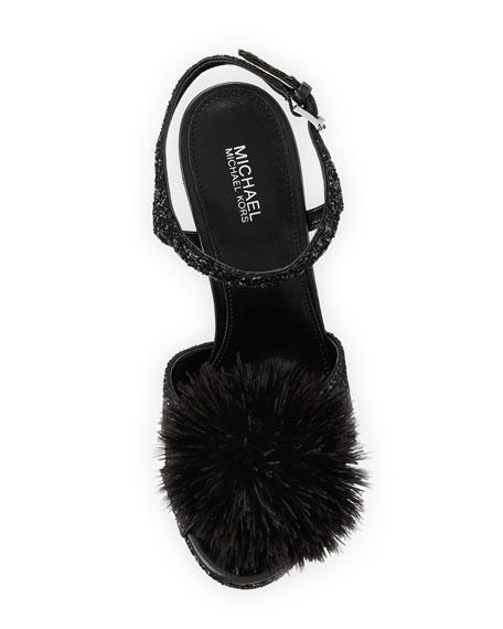 Fara Glitter Pouf Platform Sandal, Black