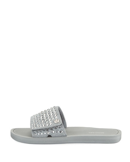 MK Embellished Fabric Slide Sandal