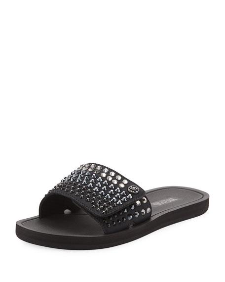 MICHAEL Michael Kors MK Embellished Fabric Slide Sandal