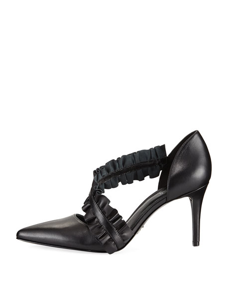 Bella Asymmetric Ruched Leather Pump