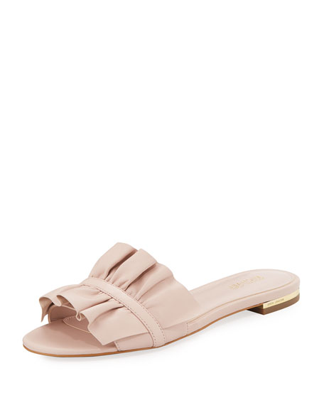 Bella Ruched Flat Leather Slide Sandal