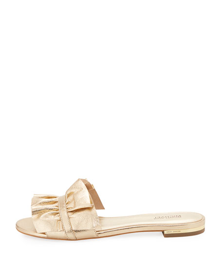 Bella Ruched Metallic Flat Slide Sandal